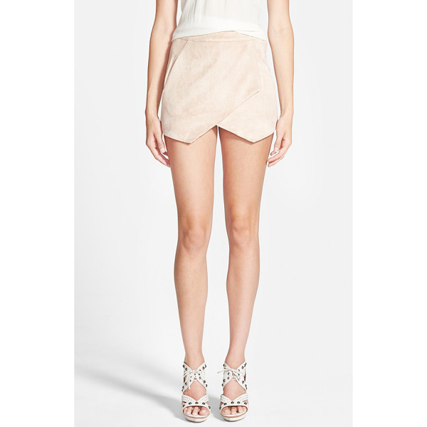 MISSGUIDED faux suede skort - Sleek faux suede is fashioned into a lovely, leggy skort...