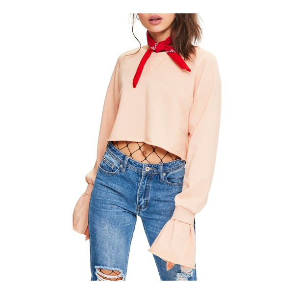 MISSGUIDED frill cuff crop sweatshirt - Ultra-long sleeves burst into flouncy, double-layered cuffs...
