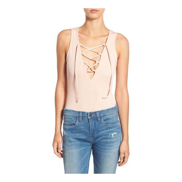 MISSGUIDED lace front bodysuit - Knit with ribbed texture, this super-slim bodysuit is...