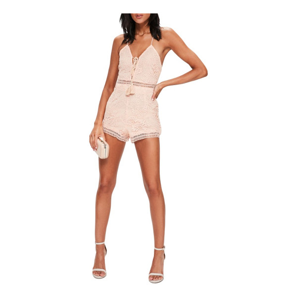 MISSGUIDED lace up romper - Look extra cute as you stroll to get brunch in this lacy...