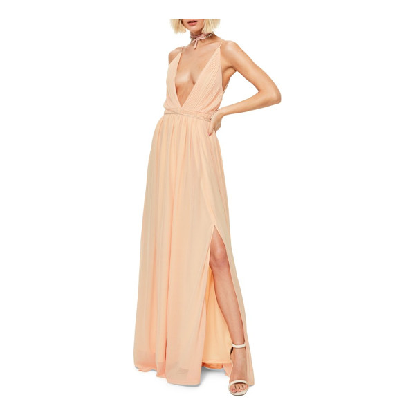 MISSGUIDED plunging neck maxi dress - Slender ties cinch the waistline and lace-up the back of a...