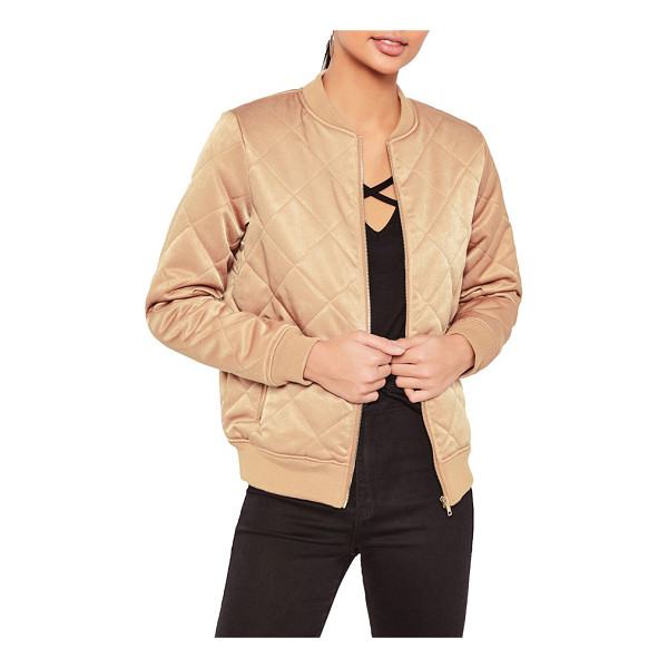 MISSGUIDED quilted satin bomber jacket - Sporty and feminine, this plush quilted bomber jacket has a...