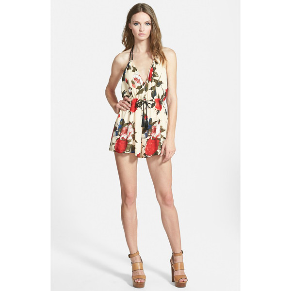 MISSGUIDED rose print romper - Soft tassels sway from the braided halter tie and...