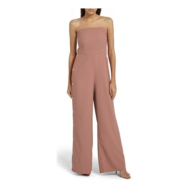 MISSGUIDED strapless jumpsuit - Golden snaps accentuate the wide, fluid legs of this chic...