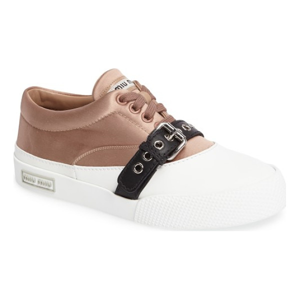 MIU MIU belted sneaker - A belted contrast adds an unexpected element to a cleanly...