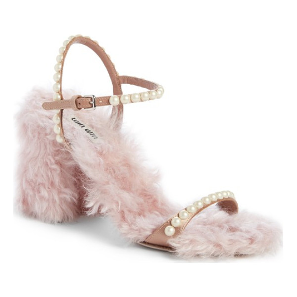 MIU MIU imitation pearl embellished faux fur sandal - Pearly beads embellish the slim straps of a sumptuous...