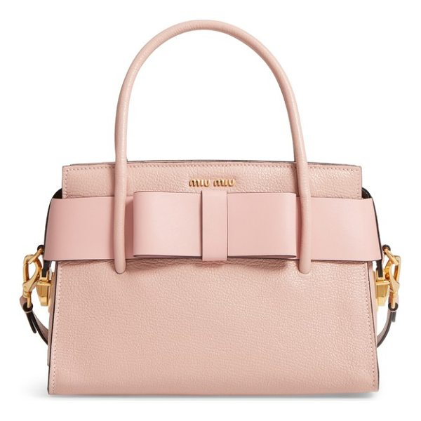 MIU MIU madras ficco leather satchel - A compact look with plenty of room, this structured leather...