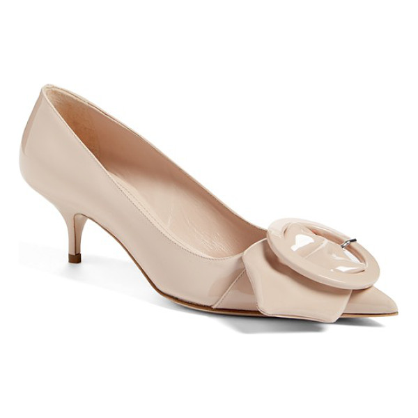 MIU MIU pointy toe buckle pump - An outsize strap and buckle adorn the dramatically pointy