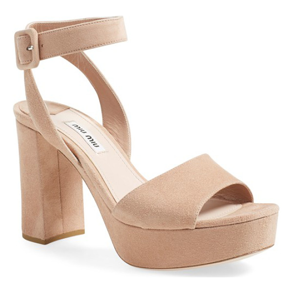MIU MIU 'sandali' ankle strap sandal - A bold block heel and platform intensify the '70s-chic...