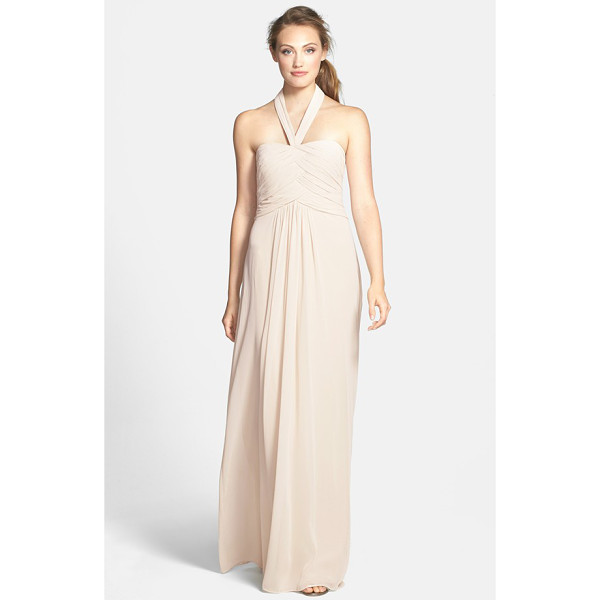 ML MONIQUE LHUILLIER BRIDESMAIDS convertible chiffon halter gown - Overlapping ruched panels contour the fitted bodice of a...