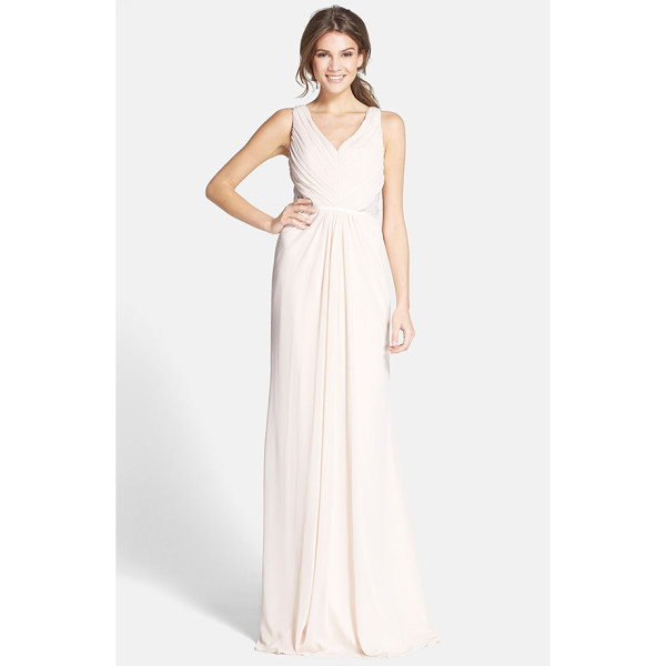 ML MONIQUE LHUILLIER BRIDESMAIDS lace back chiffon gown - Meticulous pleating that gathers to the center creates...