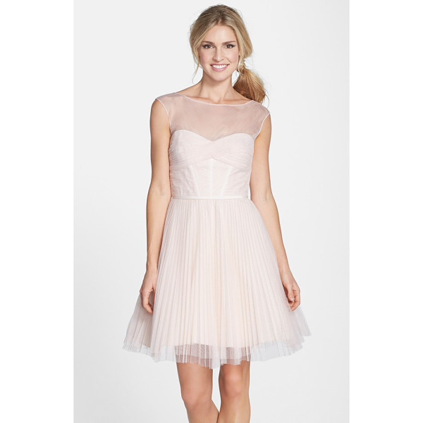 ML MONIQUE LHUILLIER BRIDESMAIDS illusion yoke tulle fit & flare dress - Deft pleating shapes the illusion-yoke bodice and adds...