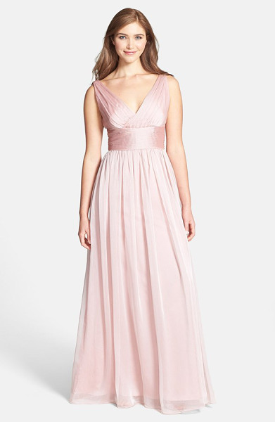 ML MONIQUE LHUILLIER BRIDESMAIDS sleeveless ruched chiffon dress - Ruching textures the surplice V-neck bodice and wide sash...