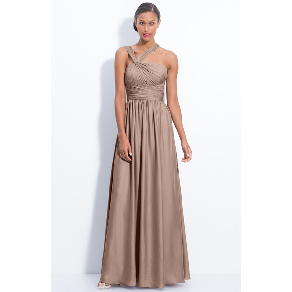 ML MONIQUE LHUILLIER BRIDESMAIDS twist shoulder satin chiffon gown - A knotted twist pulls aside the gathered straps of a satin...