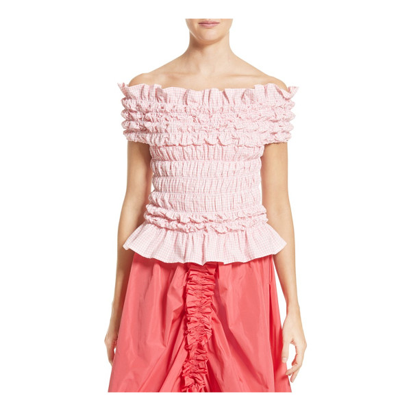 MOLLY GODDARD olga top - Smocked pink gingham brings sweet dimension to a girlish...