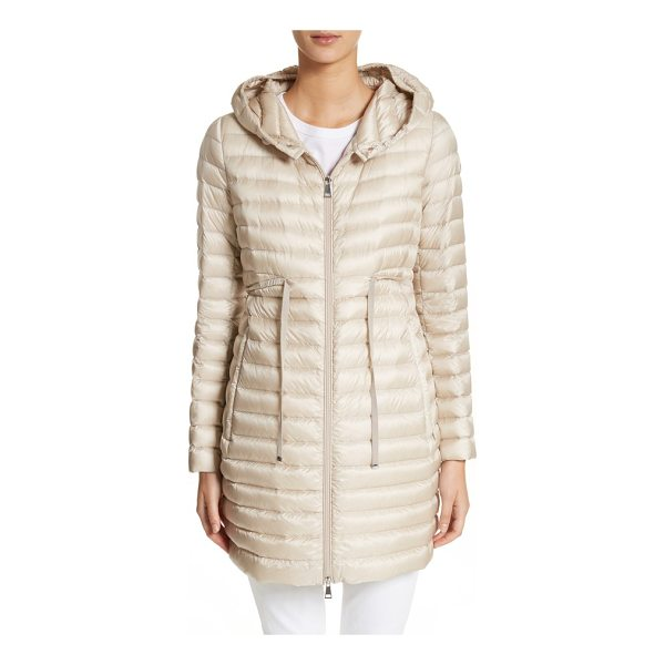 MONCLER barbel water resistant long hooded down jacket - An elasticized waist cinched with an adjustable grosgrain...