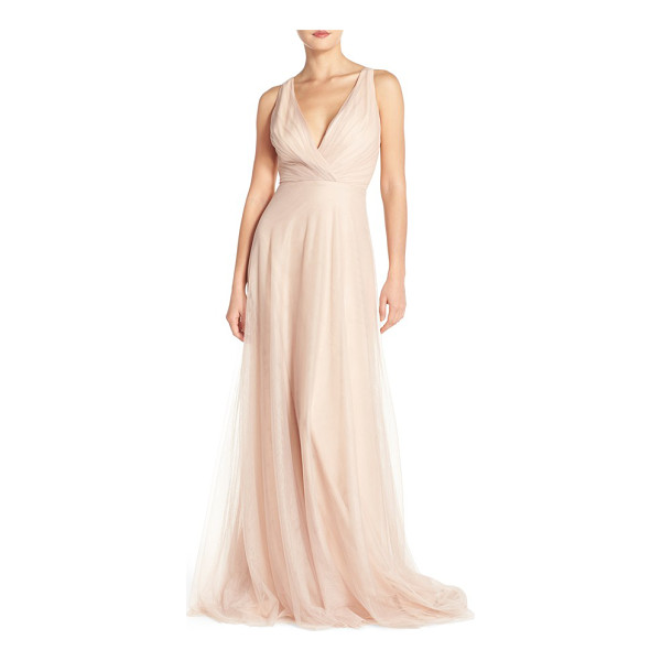MONIQUE LHUILLIER BRIDESMAIDS back cutout pleat tulle gown - Fine pleating at the decollete bodice begins the softly...
