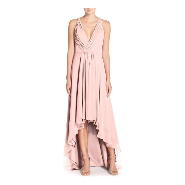MONIQUE LHUILLIER BRIDESMAIDS deep v-neck chiffon high/low gown - Plunging necklines make lovely focal points for a dreamy...
