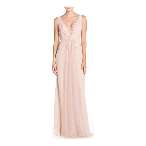 MONIQUE LHUILLIER BRIDESMAIDS deep v-neck chiffon & tulle gown - Sheer tulle at the decollete neckline and back bodice...