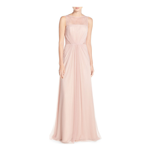 MONIQUE LHUILLIER BRIDESMAIDS illusion inset tulle gown - A stately, gathered-tulle gown is designed with sheerness...