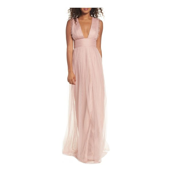 MONIQUE LHUILLIER BRIDESMAIDS isla ruffle pleated tulle gown - Dainty ruffles frill the sleeveless bodice of a dreamy...