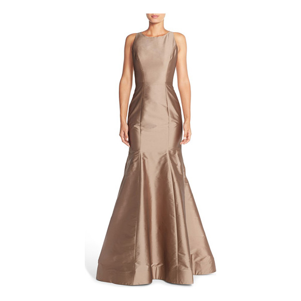 MONIQUE LHUILLIER BRIDESMAIDS back cutout taffeta mermaid gown - A high bateau neckline and cutaway shoulders draw the eye...
