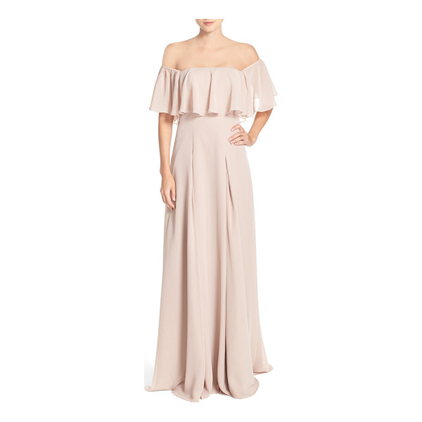 MONIQUE LHUILLIER BRIDESMAIDS off the shoulder chiffon gown - A ruffled overlay adds curve-enhancing volume at the...
