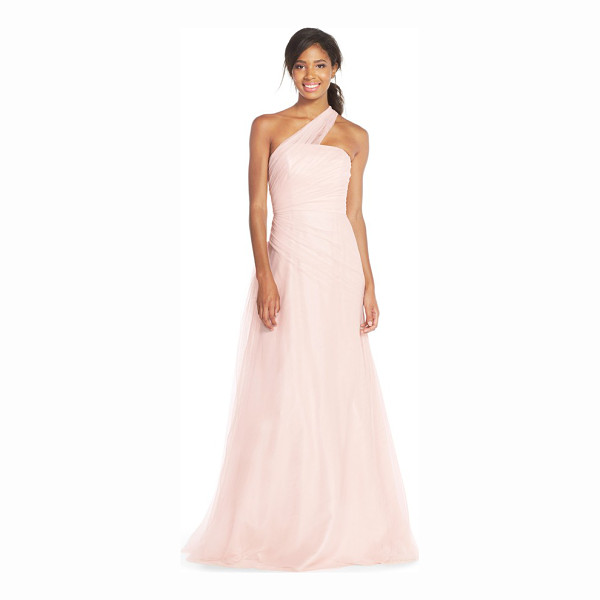 MONIQUE LHUILLIER BRIDESMAIDS one-shoulder drape tulle gown - An exquisite single-shoulder pleated-tulle overlay drapes...