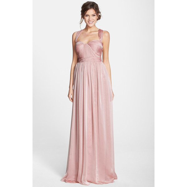 MONIQUE LHUILLIER BRIDESMAIDS shirred chiffon gown - Meticulous shirring adds soft dimension to the sculpted...