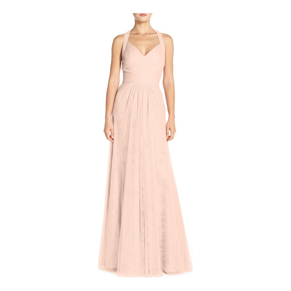 MONIQUE LHUILLIER BRIDESMAIDS sleeveless v-neck tulle gown - Finely pleated and cross-draped layers sculpt the V-neck...