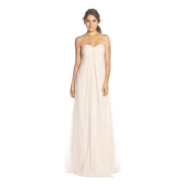 MONIQUE LHUILLIER BRIDESMAIDS strapless tulle & chiffon gown - Delicate pleats wrap the bandeau-style bodice and release a...