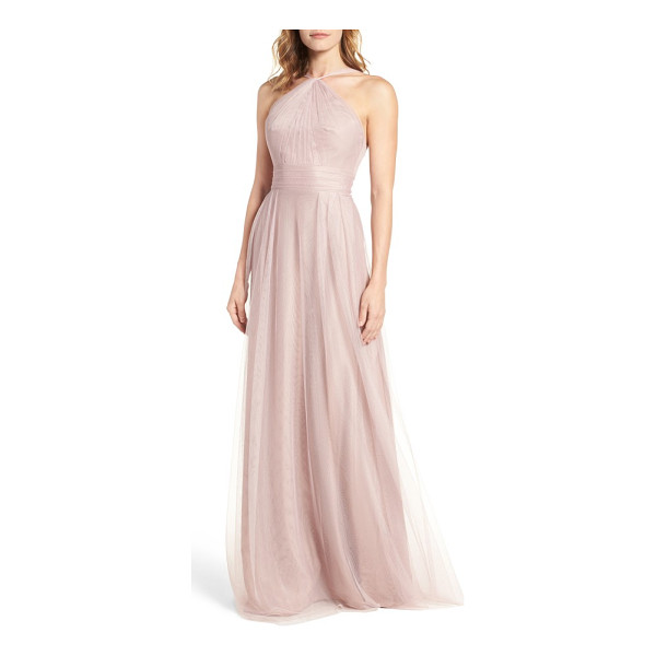 MONIQUE LHUILLIER BRIDESMAIDS tulle halter style gown - Gathered to a twisted halter-inspired neck, this charming...