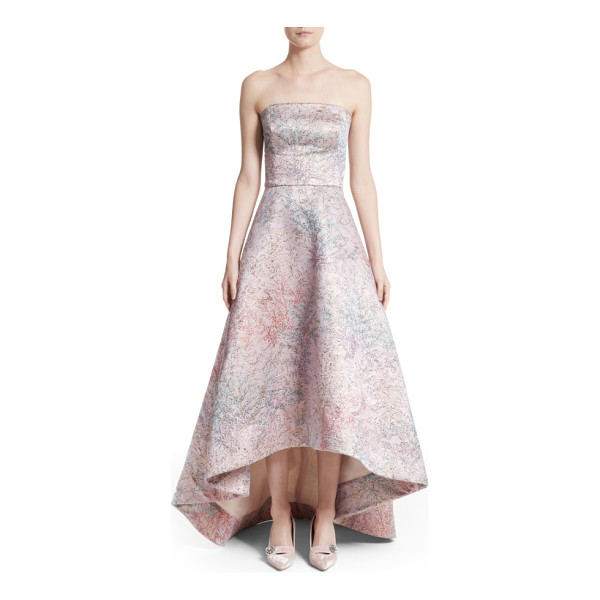 MONIQUE LHUILLIER BRIDESMAIDS strapless high/low ballgown - Shimmering Italian brocade in a pale palette with delicate...