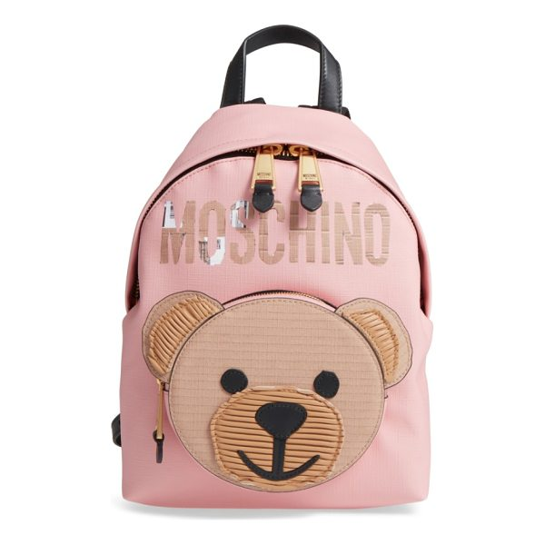 MOSCHINO cardboard bear leather backpack - Moschino's mascot and logo get reimagined in cardboard at...