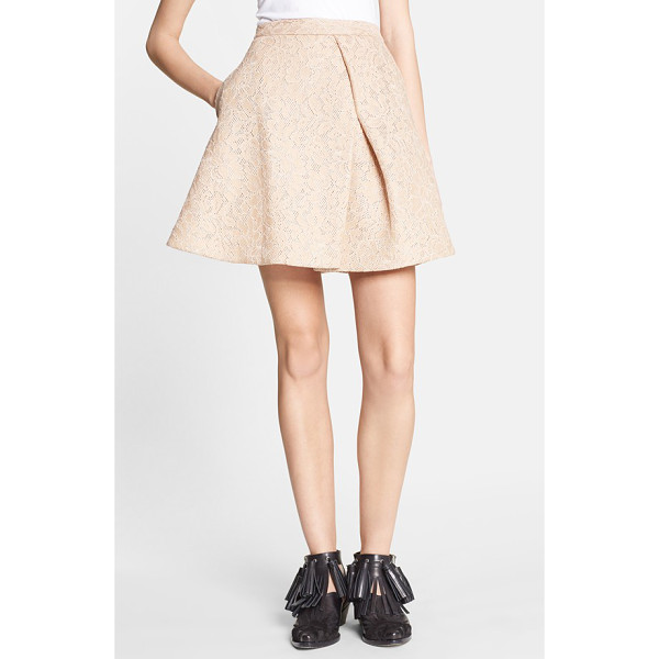 MSGM a-line lace miniskirt - A pronounced pleat flares the flirty silhouette of this...
