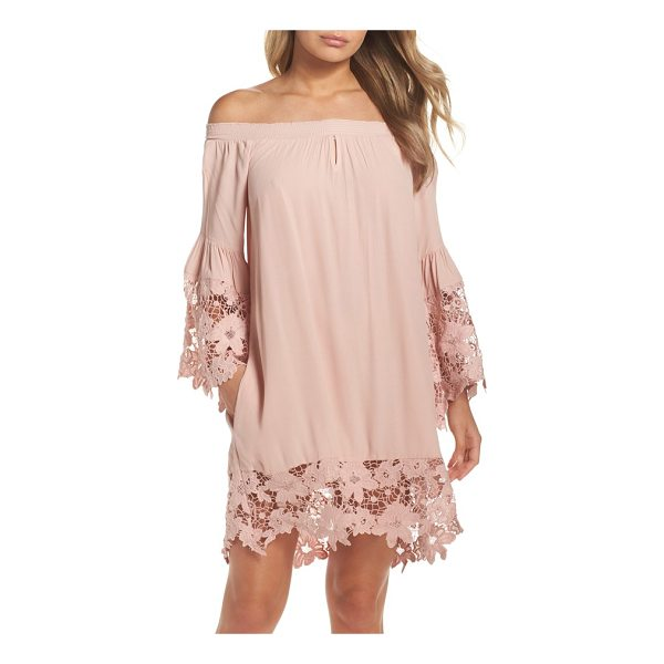 MUCHE ET MUCHETTE jolie lace accent cover-up dress - Elastic smocking keeps the comely off-the-shoulder neckline...