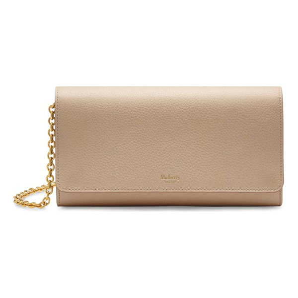 MULBERRY Continental - A sleek pebbled-leather clutch comes fitted with a shining,...