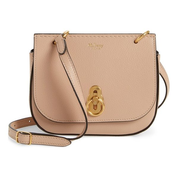 MULBERRY mini amberley calfskin leather crossbody bag - Eye-catching equestrian-inspired hardware secures the flap...