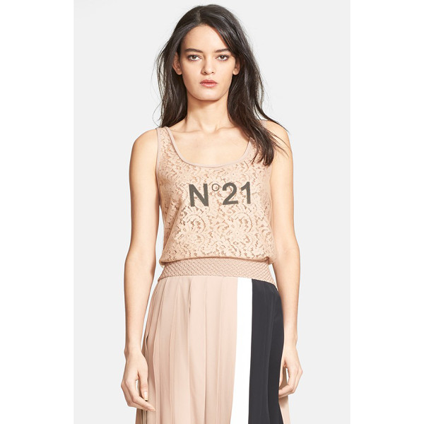 N21 mixed media tank - A mashup of trend-right and timeless style, this scoop-neck...