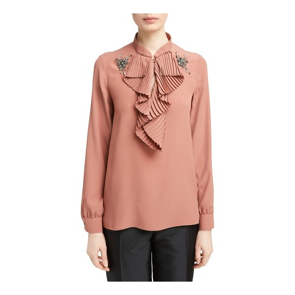 N21 n?21 beaded applique blouse - Pleated ruffles and sparkling beaded appliques add a sense...
