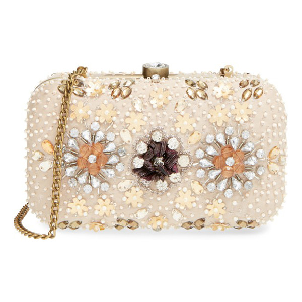 NATASHA COUTURE Bead & crystal floral clutch - Crystals and pearlescent beads enhance the vintage-inspired...