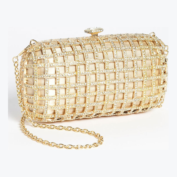 NATASHA COUTURE caged clutch - Crystals encrust the satin-backed cage of a regal clutch