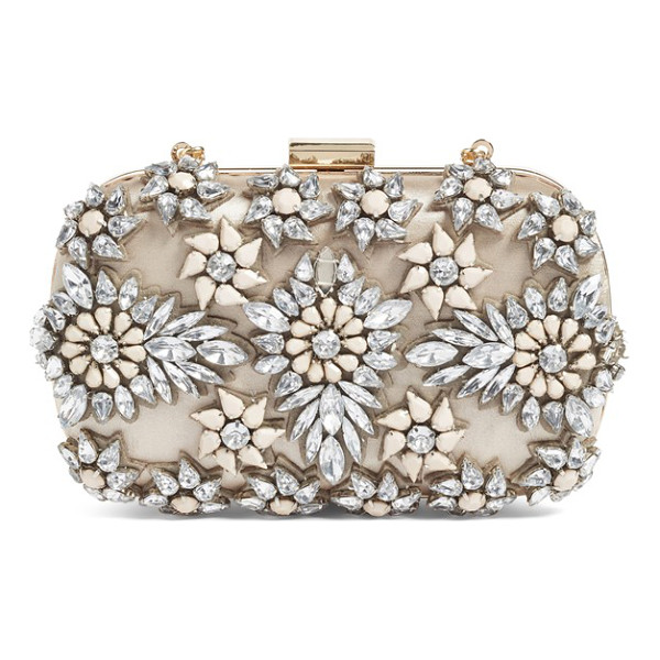 NATASHA COUTURE crystal floral box clutch - Stone-and-crystal flowers glint and shine on a box clutch...