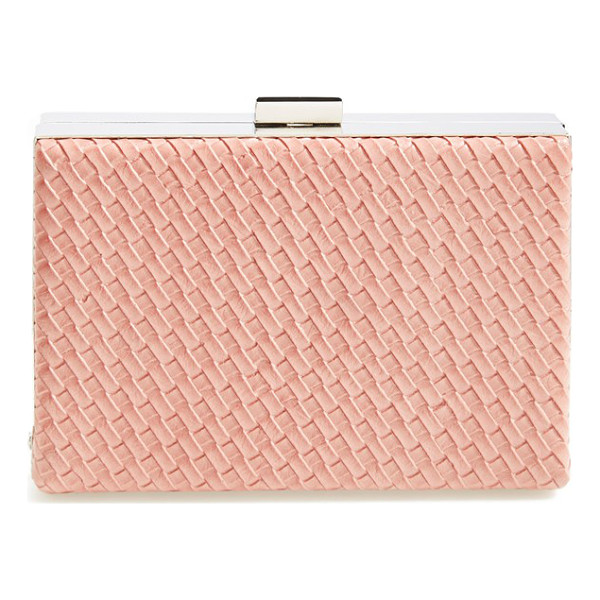 NATASHA COUTURE Woven box clutch - A dynamic basket-weave finish adds textural intrigue to a...