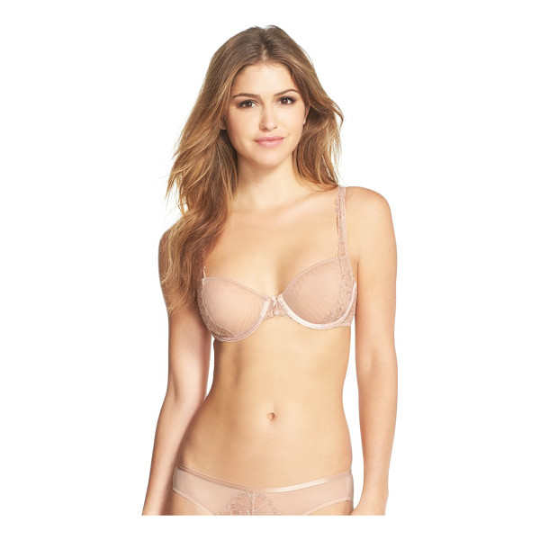 NATORI chantilly lace underwire demi bra - Unlined mesh cups grant this lace-traced bra a second-skin...