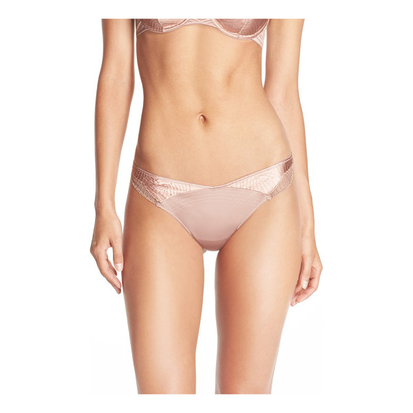 NATORI plie satin trim thong - Silky embroidered satin with smooth, scalloped sides...