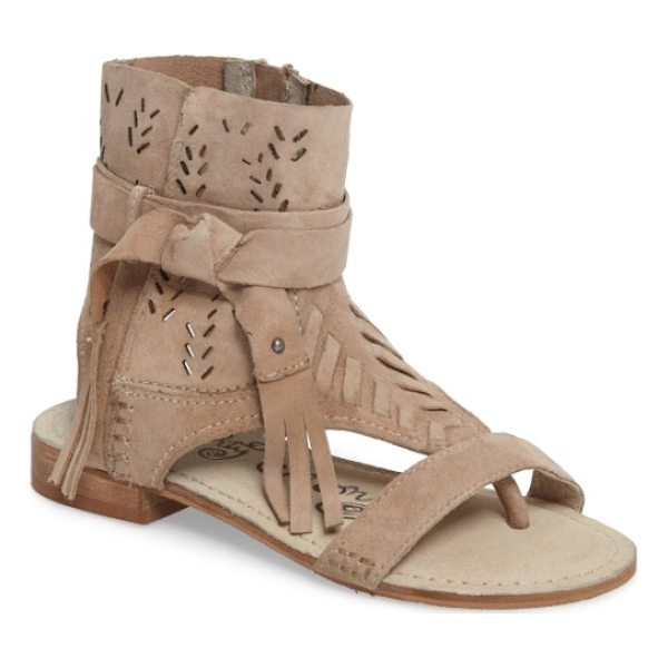 NAUGHTY MONKEY cochise flat sandal - Whipstitched trim and a fringed wraparound strap heighten...