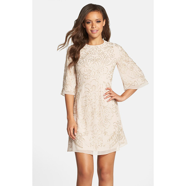 NEEDLE & THREAD beaded georgette bell sleeve shift dress - Shimmering beadwork illuminates a beautiful floral design...