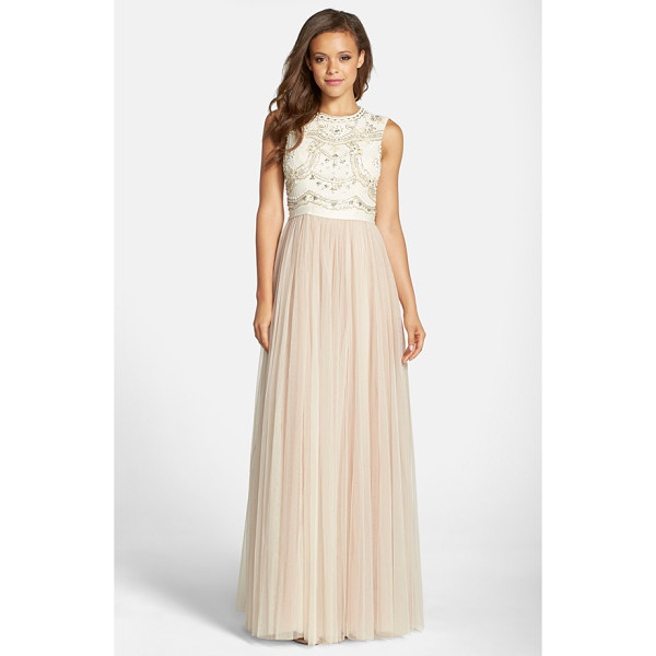 NEEDLE & THREAD embellished bodice georgette & tulle gown - Beautiful lace-inspired designs are hand-beaded on the...