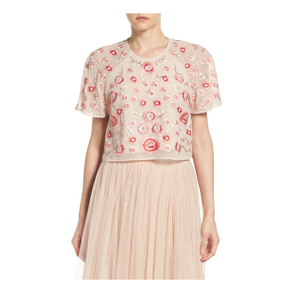 NEEDLE & THREAD embellished crop top - Shower yourself in cherry blossoms-it looks as good as it...